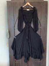 Zimmermann Dress Black Long Unbridled Frill Sheer Floating Silk Sheer  1 Belt