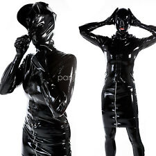 100% Latex Rubber Women Fashion Black Dress Hooded Skirt Size S-XXL