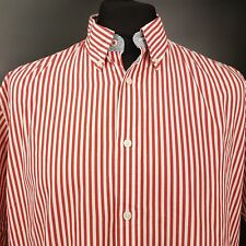 Tommy Hilfiger Mens Shirt XL Short Sleeve Red Custom Fit Striped Cotton