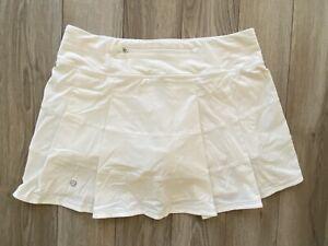Lululemon Pace Rival Skirt Skort Short Pleated White Sz6 Tall EUC