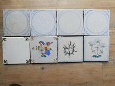 Antike Holländische Delft Fliesen Kachel Tile, 8 Stück, davon 3 mit Blumen