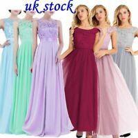 UK Women's Chiffon Formal Gown Dress Long Prom Cocktail Party Bridesmaid Wedding