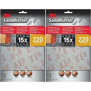 4 x 3M Sandblaster Fine Ultra Flexible Sanding Sheets, Silver, 220 Grit - 4 Set