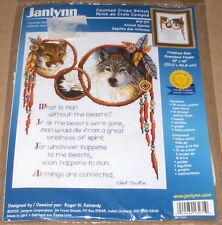 "Janlynn / Reinardy ""Animal Spirits"" Cross Stitch Kit - Wolf, Eagle & Cougar NIP"