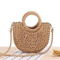 Retro Wicker Handbag Bags Women Totes Beach Straw Woven Rattan Causal Basket Bag