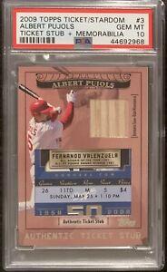 2009 Clayton Kershaw MLB DEBUT Topps Ticket to Stardom ticket stub PSA 10 Pujols