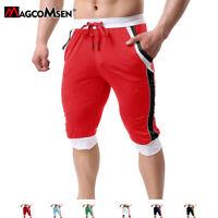 Mens Athletic Capri Short Pants Performance Bodybuilding Gym Shorts Sweatpants