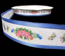 BTY American Girl Felicity Butterflies Rose Flowers Country Blue Ribbon Sash