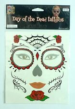 Day of the Dead Dia de los Muertos Red Rose Face Tattoo Mask Gift Halloween