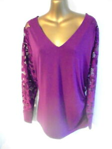 STAR by Julien Macdonald 20 Top in magenta long lace sleeve BNWT (1764