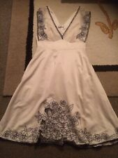 Vila Double V-neck Cream Satin Style Fit & Flare Evening Dress. Size Small (8-10