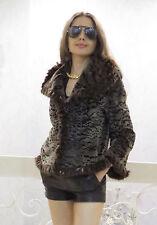 Designer Brown Animal Black Spots Sheared Mink Fur JACKET COAT S M 4 6 8