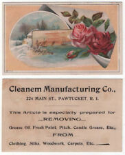 Pawtucket, Rhode Island, Cleanem Manufacturing Co., Trade Card, Roses and Ships