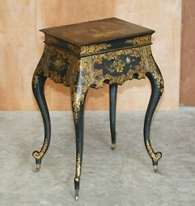 GEORGIAN ANTIQUE CIRCA 1800 GEORGE III CHINESE LACQUER & GOLD GILT WORK TABLE
