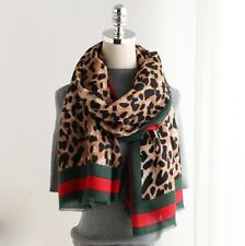 Gorgeous large Leopard Print Scarf Camel Tone With Red Stripe Wrap Animal Black