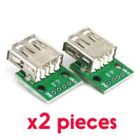2pcs Connecteur USB Femelle Type A PCB Dip 4pin 2.54mm à souder DIY Arduino Pi