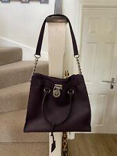 Michael Kors Handbag - Genuine - Purple Leather with Silver Accessories.