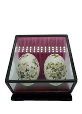 Beautiful Vintage Chinese Hand Painted Decorated Eggs In Glass Display Case