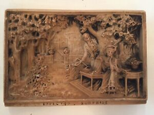 "Antique Americana Bar Relief Wall Plaque ""Expected Surpise"" 9"" X 6.2"""
