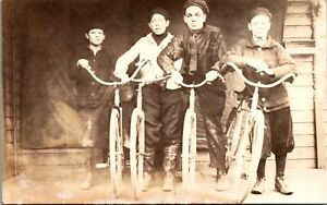 Real Photo Postcard Four Kids With Their Bicycles~2418