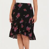 Torrid 2/3/4X SKIRT Floral Black Ruffle Wrap Midi Hi Lo Plus Size Summer Beach