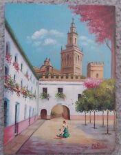 "Fd Hvelva Sevilla Oil Painting, mid 20th century, 7""x9.5"""