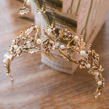 ANTIQUE GOLD CROWN/TIARA WITH WHITE PEARLS & CLEAR CRYSTALS, BRIDAL OR RACING