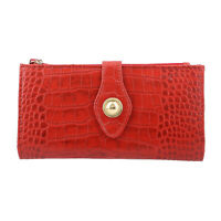 Red Croco Embossed 100% Genuine Leather RFID Ladies Wallet with Wristlet