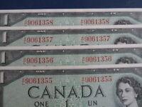 1954 Canada 1 Dollar Bank Note-Beattie/Coyne RL9061355-58 -UNC Cond.  21-59
