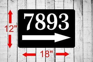 "Personalized 12"" x 18"" Aluminum Metal Sign Your Custom Address Right Arrow sq31"