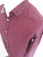 Ted Baker Edwild Floral Paisly Shirt Deep Red Xlnsize 5 44 Chest long sleeve