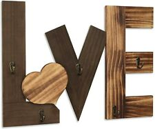Kadolina Wall Wood Love Sign with 5 Hooks Rustic Wall Decor