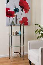 4-Tier Shelving Display Clear Glass Rack/DVD,Book Storage/Bathroom Storage-GR15C