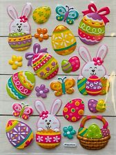 Easter Bunny Eggs Puffy Stickers Planner Papercraft DIY Craft Cards Scrapbook