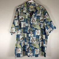Royal Hawaiian Creations Aloha Camp Shirt Sea Turtles Ukulele Palms Mens Size 3X