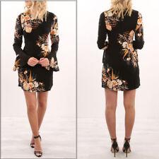 UK Women Long Sleeve Mini Dresses Long Tops Evening Party Floral T-Shirt Dresses
