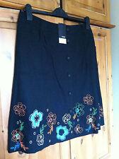 Next Black Skirt - UK14 - BNWT (Embroidery Flowers)