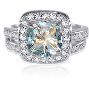 Sterling Silver Round Brilliant Cut Aquamarine CZ Wedding Engagement Ring Set