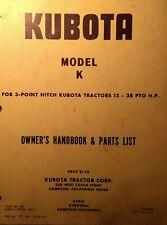 Kubota B6000 Diesel 4x4 Farm Tractor K Tiller Implement Owner Amp Parts Manual