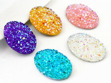 18x25mm Druzy Oval Resin Cabochons | 10pcs | Mixed Colours