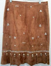 caed51a00 FOR JOSEPH 100% Leather Skirt with shells mother of pearl buttons sz 29  costume