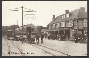 Postcard Isle of Man early view of Groudle Tram Station by ETW Dennis