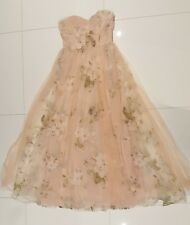 WOMEN'S FORMAL DRESS LONG MAXI GOWN LACE SIZE SMALL WEDDING ROSES BLUSH PRETTY