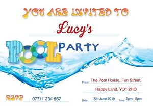 POOL PERSONALISED BIRTHDAY PARTY INVITES Invitations Pack of 10
