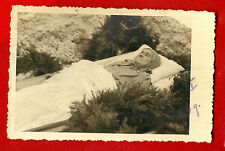 Antique post mortem Woman in casket Vintage funeral photo card 475