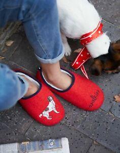 Joules Womens Slippet Felt Mule Applique Slippers - Red Walkies