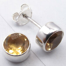 925 Sterling Silver YELLOW CITRINE GIRLS' RETRO STYLE Studs Earrings 0.8 CM NEW