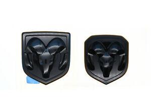 For Dodge Ram 1500 2500 3500 Set Of Front & Rear Head Badge Emblem Black Mopar