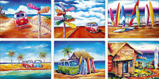 Summer Life SET of 6 Designer PLACEMATS - VW Kombi Beach Surf Outback Bar