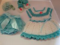 Crocheted baby girl outfit, dress, diaper cover headband and booties newborn to